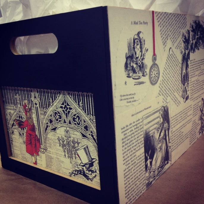 An Alice in Wonderland themed box made by my mother, Joy, for the party.