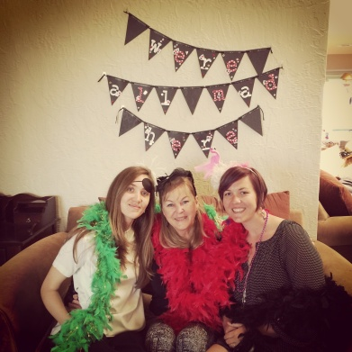 My sister, Jeanine, my mom and me at the tea party!