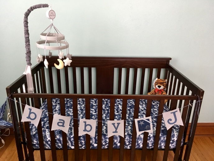 Baby J's crib in the new nursery.