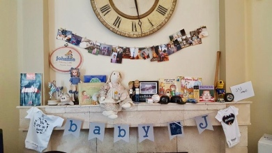 My mother's mantel covered in memories.